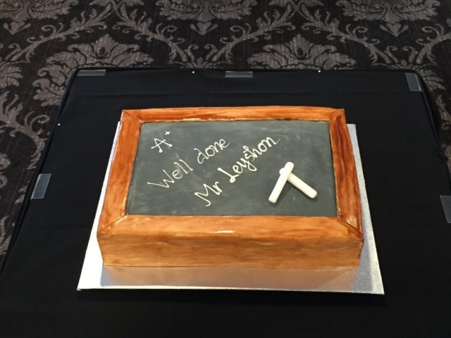 A school-themed retirement cake was hand-crafted by Sooo Delicious.