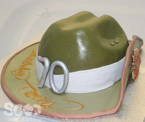 Sooo Delicious made a slouch hat cake for Tony's 70th Birthday.